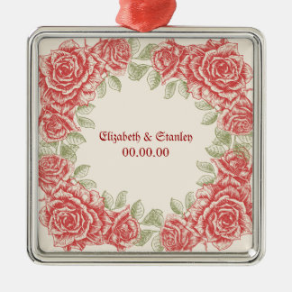 Vintage Red roses Wedding Save the Date ornament