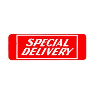 Vintage Red Special Delivery Mailing Sticker Label Return Address Label