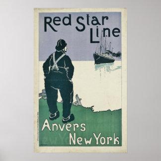 Vintage Red Star Line Cruise Ocean Liner Travel Poster