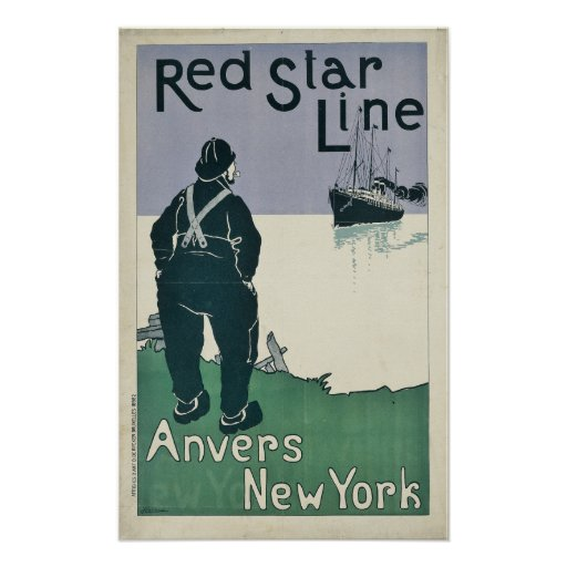 Vintage Red Star Line Cruise Ocean Liner Travel Poster