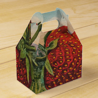Vintage Red Strawberries Fresh Fruit Favor Box