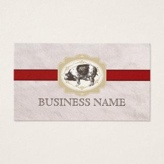 Vintage Red Stripe Fur Texture Pig Business Card