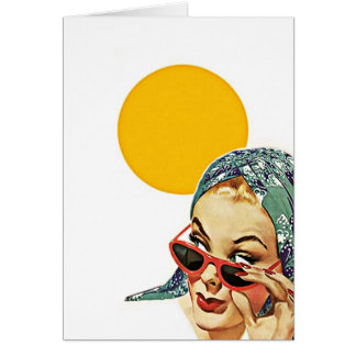 Vintage Red Sunglasses Sunshine Blank Note Cards