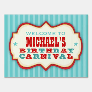 Vintage Red & Teal Carnival Party Yard Sign