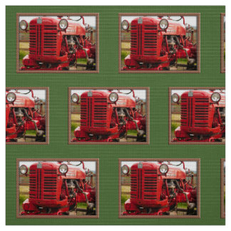 Vintage red tractor fabric