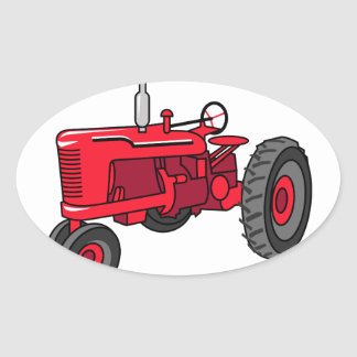 Vintage Red Tractor Oval Sticker