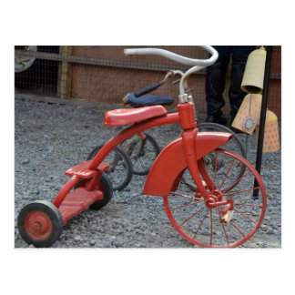 Vintage Red Tricycle Bike Lets Ride Postcard