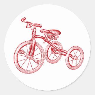 Vintage Red Tricycle Round Sticker