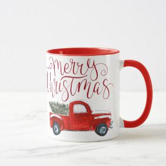 Vintage Red Truck Christmas Mug