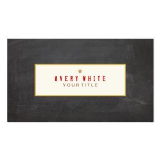 Vintage Red Typewriter Font Black Chalkboard Business Card