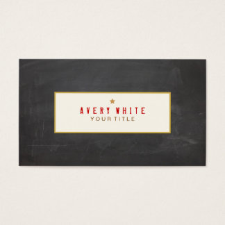 Vintage Red Typewriter Font Black Chalkboard Business Card