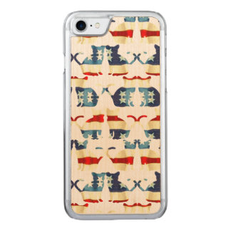 VINTAGE RED WHITE AND BLUE CAT PATTERN CARVED iPhone 8/7 CASE