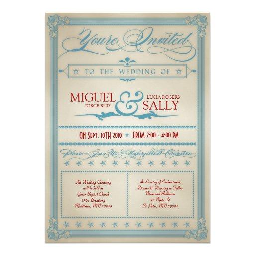 Vintage Red White & Blue Wedding Invitation
