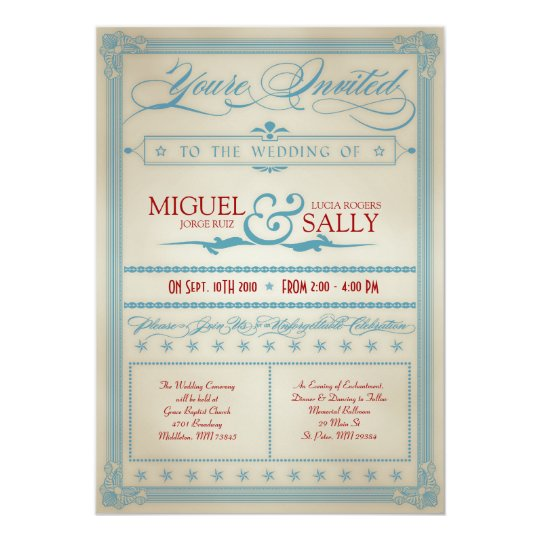 Vintage Red White & Blue Wedding Invitation
