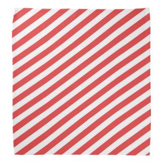 Vintage Red White Girly Stripes Pattern Bandana