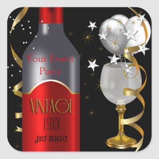 Vintage Red Wine Black Gold Silver Square Sticker