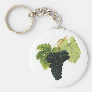 Vintage Red Wine Organic Grape Cluster, Food Fruit Basic Round Button Keychain