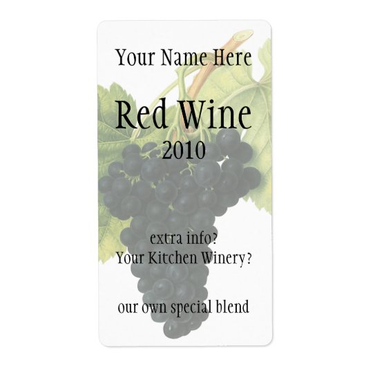 Vintage Red Wine Organic Grape Cluster, Food Fruit Shipping Label