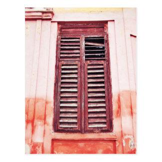 Vintage Red Wooden Shutters Postcard