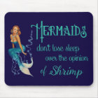 Vintage Redhead Pinup Mermaid in Diamonds Quote Mouse Pad