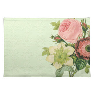 Vintage Redoute Floral Rose Anemone Clematis Placemat