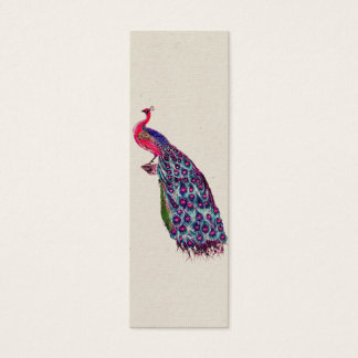 Vintage Regal Peacock Bright girly Pink Teal Bird Mini Business Card