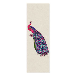 Vintage Regal Peacock Bright girly Pink Teal Bird Pack Of Skinny Business Cards