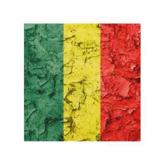 Vintage reggae flag wood canvas