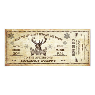 Vintage Reindeer Holiday Party Ticket Invitation