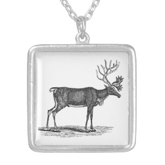 Vintage Reindeer Illustration - 1800's Christmas Silver Plated Necklace