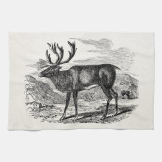 Vintage Reindeer Personalized Deer Illustration Kitchen Towel