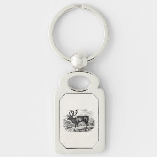 Vintage Reindeer Personalized Deer Illustration Silver-Colored Rectangle Keychain