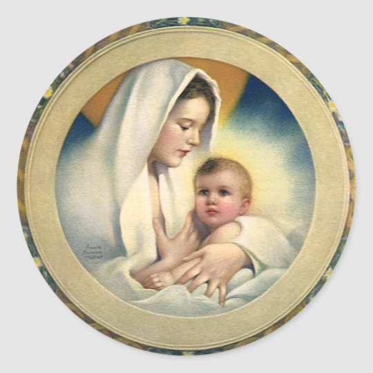 Vintage Relgious Christmas, Madonna and Child Classic Round Sticker