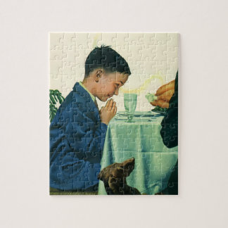 Vintage Religion, Boy Saying Grace at Thanksgiving Jigsaw Puzzle