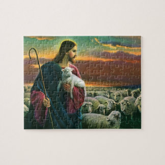 Vintage Religion, Christ the Shepherd with Flock Jigsaw Puzzle