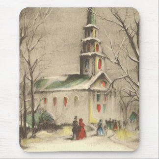 Vintage Religion, Church in Winter Snowscape Mouse Pad