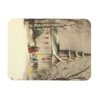 Vintage Religion, Church in Winter Snowscape Rectangular Photo Magnet