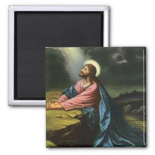Vintage Religion, Gethsemane, Jesus Christ Praying Square Magnet
