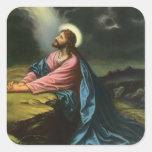 Vintage Religion, Gethsemane, Jesus Christ Praying Square Sticker