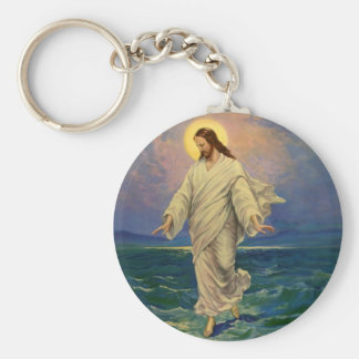 Vintage Religion, Jesus Christ is Walking on Water Basic Round Button Keychain