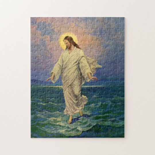 Vintage Religion, Jesus Christ is Walking on Water Jigsaw Puzzle
