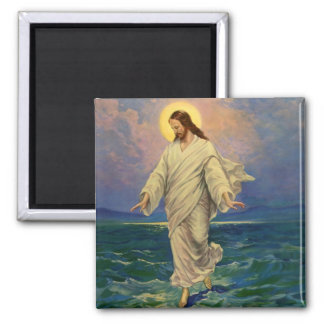 Vintage Religion, Jesus Christ is Walking on Water Magnet