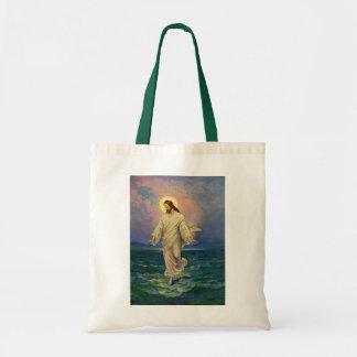 Vintage Religion, Jesus Christ is Walking on Water Tote Bag