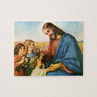 Vintage Religion, Jesus Christ with Children Jigsaw Puzzle