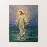 Vintage Religion, Jesus Walking on Water Portrait Jigsaw Puzzle