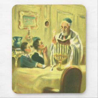 Vintage Religion, Judaism, Lighting the Menorah Mouse Pad