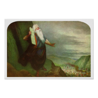 Vintage Religion, Moses and 10 Commandments Poster
