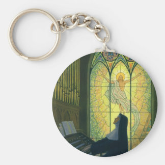 Vintage Religion, Nun Playing an Organ in Church Keychain