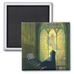 Vintage Religion, Nun Playing Organ in Church Square Magnet