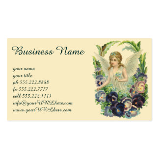 Vintage Religion, Purple Pansy Flower Easter Angel Business Card